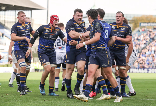 Leinster players celebrate winning a late penalty