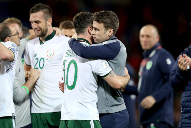 Robbie Brady and Seamus Coleman celebrate