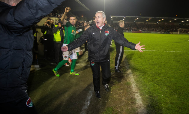 John Caulfield celebrates at the final whistle