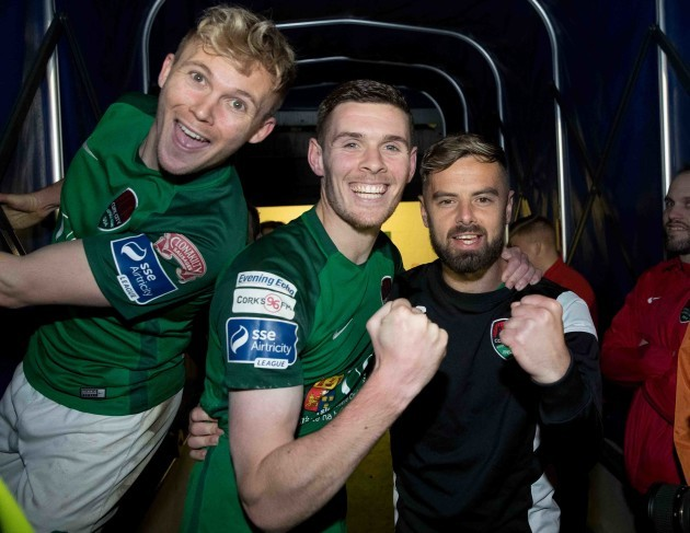 Conor McCormack, Garry Buckley and Greg Bolger celebrate winning the league