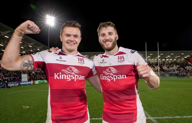 Jacob Stockdale and Stuart McCloskey celebrate after the game