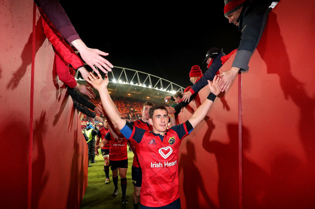 Ian Keatley celebrates after the game