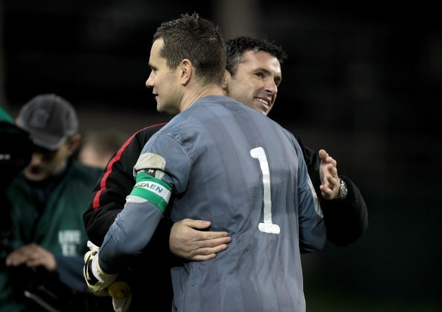 Shay Given with manager Gary Speed