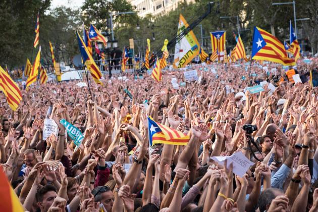 Spain: Demonstrators Protest Spanish Move To Suspend Catalan Autonomy