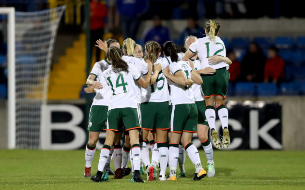 Republic of Ireland players celebrate their sides first goal