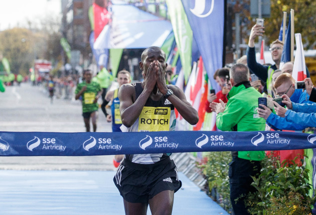 Benard Rotich crosses the line to win the SSE Airtricity Dublin Marathon