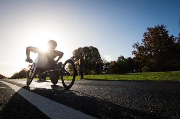 Winner of the wheelchair title Patrick Monahan passes through the Phoenix Park