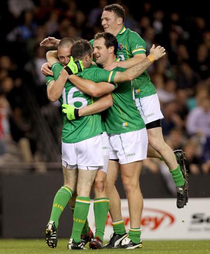 Kieran Donaghy, Michael Murphy and Leighton Glynn celebrates with goalscorer Steven McDonnell