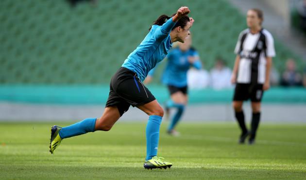 Aine O'Gorman celebrates scoring her side's first goal