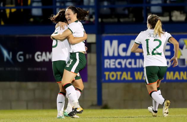 Megan Campbell celebrates scoring her sides second goal