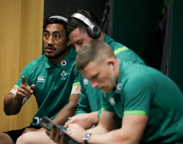 Bundee Aki in the dressing room ahead of the game
