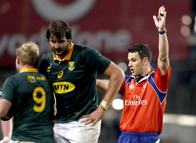 Ben O'Keeffe awards a penalty to South Africa