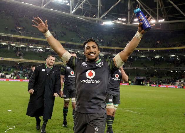 Bundee Aki celebrates after the game