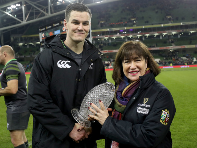 Johnny Sexton is presented with the man of the match award by Syl Saller