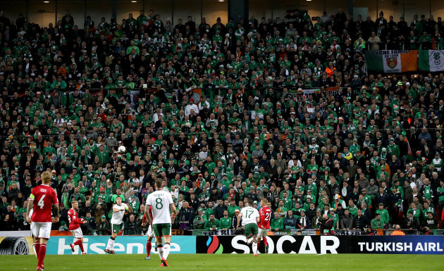 A view of the Irish fans during the game