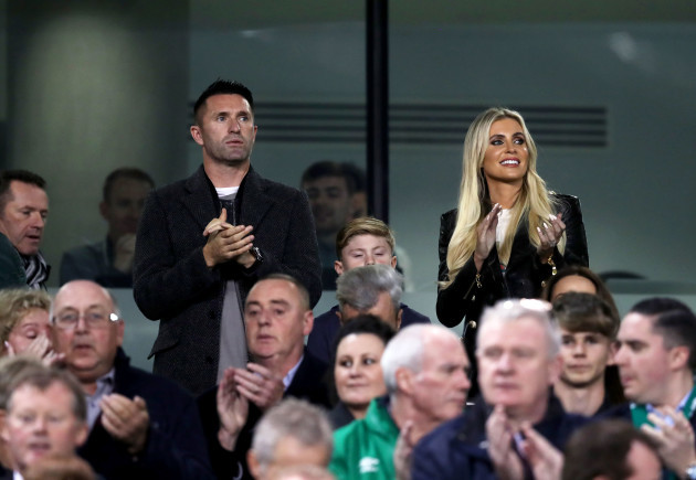 Robbie Keane and his wife Claudine at the match