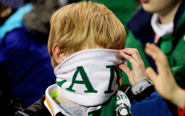 An Ireland fan dejected late in the game