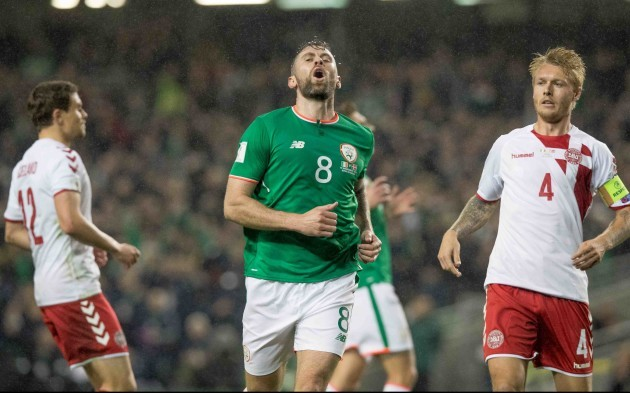 Daryl Murphy reacts after coming close with a flick on goal