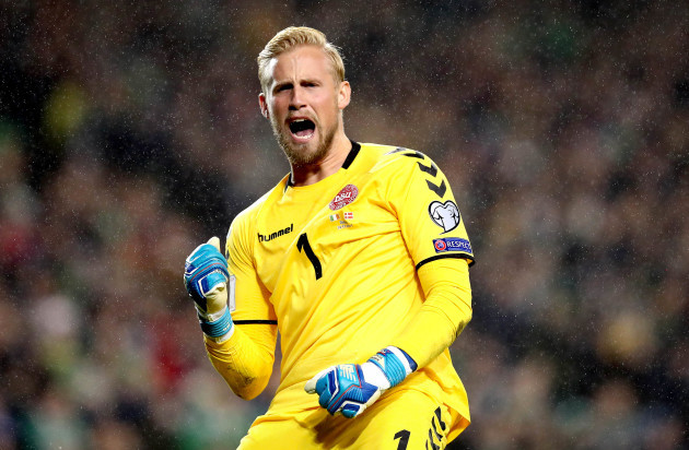 Kasper Schmeichel celebrates his side's first goal of the game