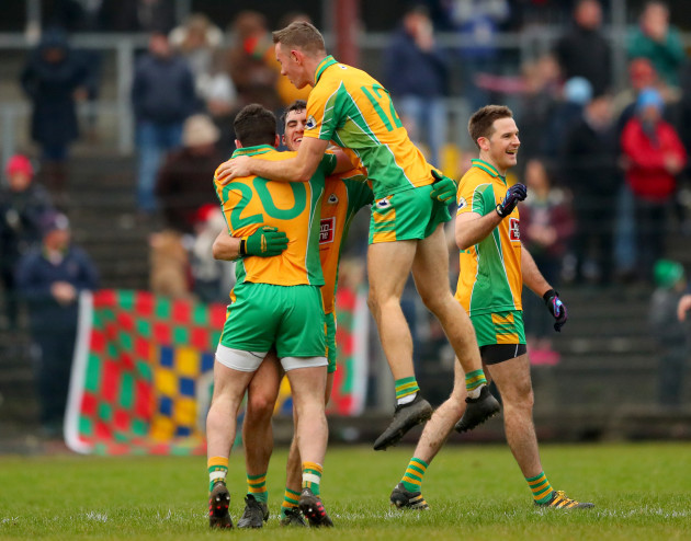 Conor Cunningham, Daithi Burke, Jason Leonard and Kevin Murphy celebrate after the game