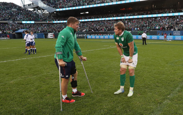 Ireland's Jordi Murphy and Jamie Heaslip