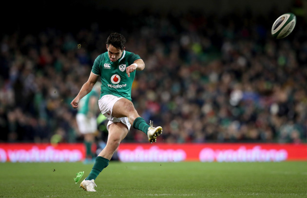 Joey Carbery kicks a conversion