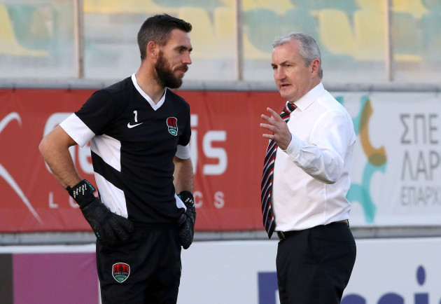 John Caulfield with goalkeeper Mark McNulty