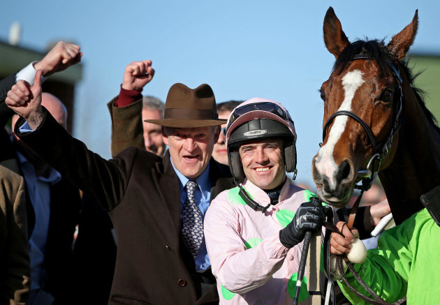 Ruby Walsh and Faugheen celebrate with winning trainer Willie Mullins