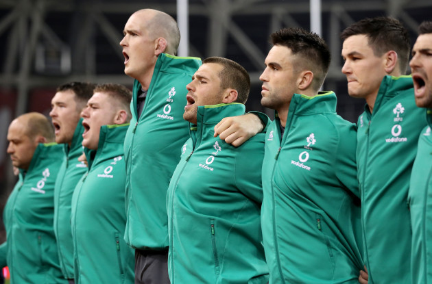 Devin Toner, CJ Stander and Conor Murray during the anthems