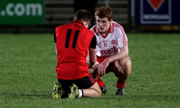 Ben O'Reilly consoled Peter Harte