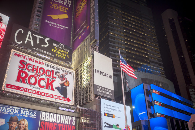 NY: Impeach Trump advertisements in Times Square in New York