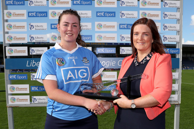 Dublin's Faye McCarthy is presented with Player of the match by Tara Kaldanis of Liberty Insurance