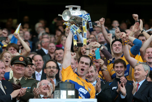 Patrick Donnellan lifts the Liam MacCarthy cup