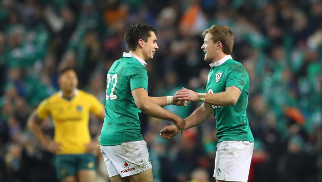 Joey Carbery and Kieran Marmion celebrate