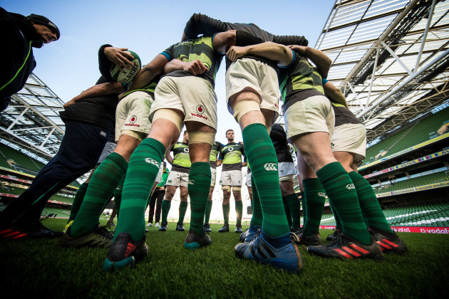 The Ireland team huddle