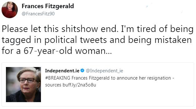 Ireland's Deputy Prime Minister Frances Fitzgerald resigns