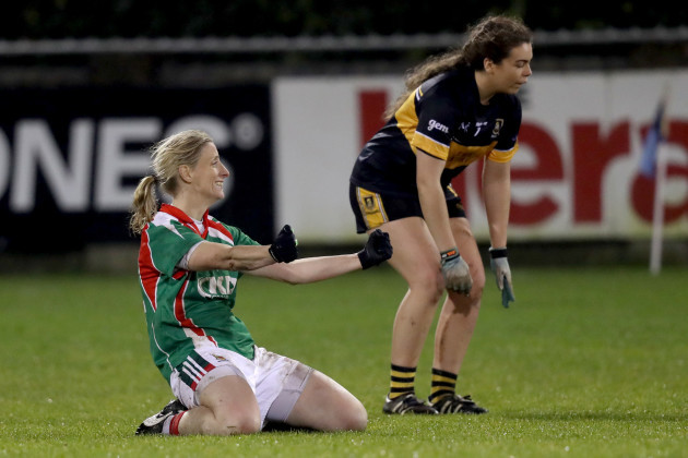 Cora Staunton with Aisling O'Sullivan of Mourneabbey at the final whistle