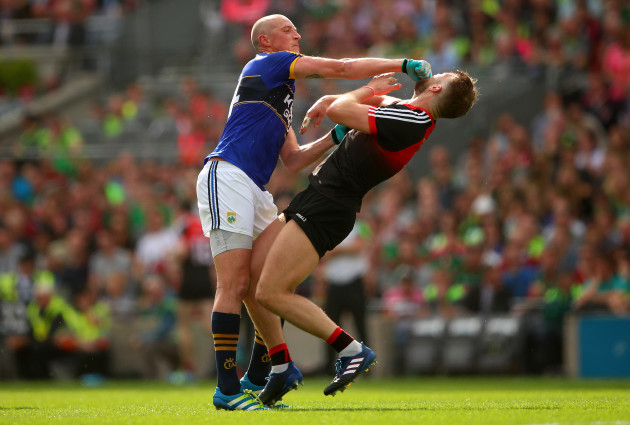 Kieran Donaghy clashes with Aidan O'Shea which resulted in a red card