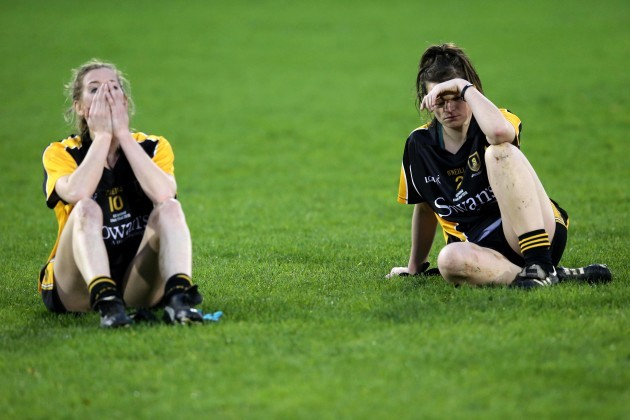 Sile O'Callaghan and Emma Coakley dejected