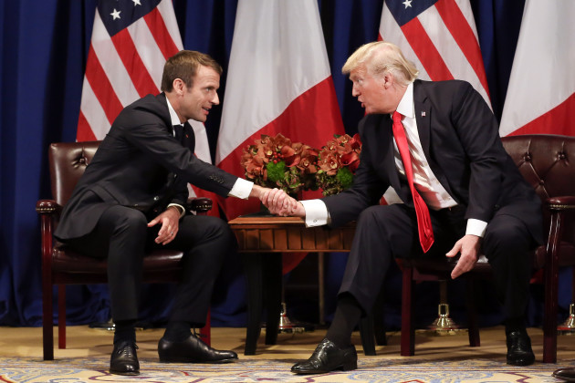 French President Emmanuel Macron meets with US President Donald Trump - NYC