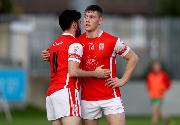 Colum Sheanon and Con O'Callaghan dejected after the game