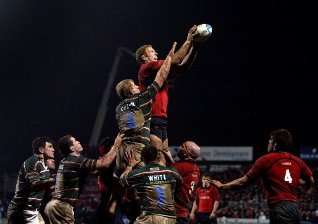 Paul O'Connell wins the ball in the lineout over Leo Cullen