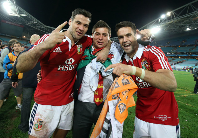 Mike Phillips, Ben Youngs and Conor Murray celebrate