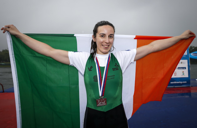 Denise Walsh celebrates winning silver