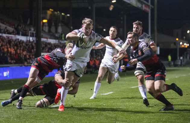 Craig Gilroy on his way to scoring Ulster's fourth try