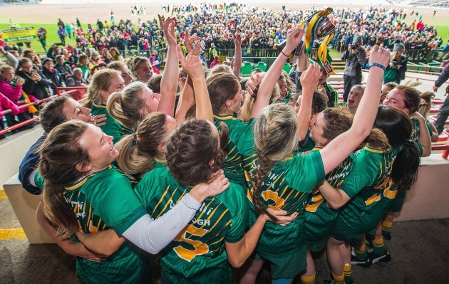 Meath celebrate lifting the trophy