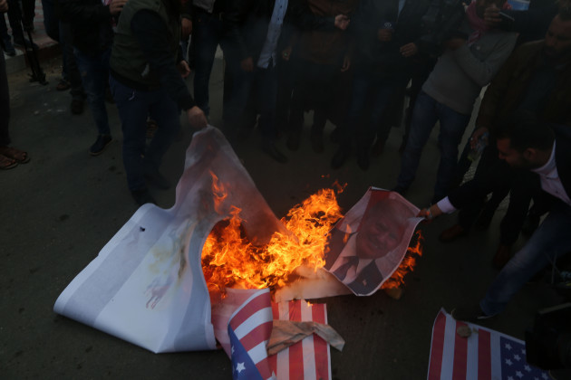 Palestine: Protest against the U.S. intention to move its embassy to Jerusalem and to recognize the city of Jerusalem as the capital of Israel