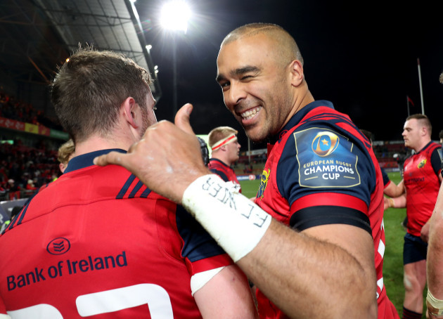Simon Zebo celebrates after the game