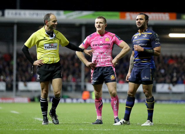 Romain Poite, Gareth Steenson and Isa Nacewa