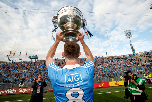 Brian Fenton celebrates in front of Hill 16